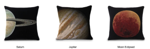 Saturn, Jupiter, and Moon Eclipsed Pillows from DQtrs